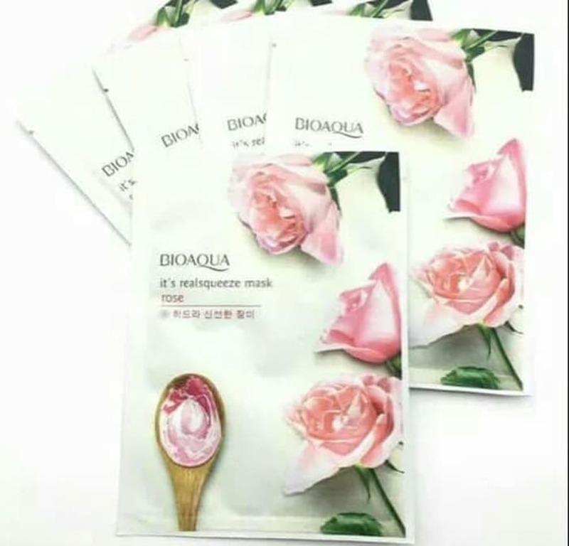 ماسک ورقه ای روشن کننده گل رز صورتی بیوآکوا(BIOAQUA)